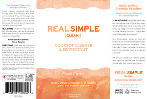 Real Simple Clean Cooktop Cleaner & Protectant, For Ceramic, Glass, and Enamel Cooktops, Plant-Based Formula, No Animal Testing, Made in USA, 24 oz