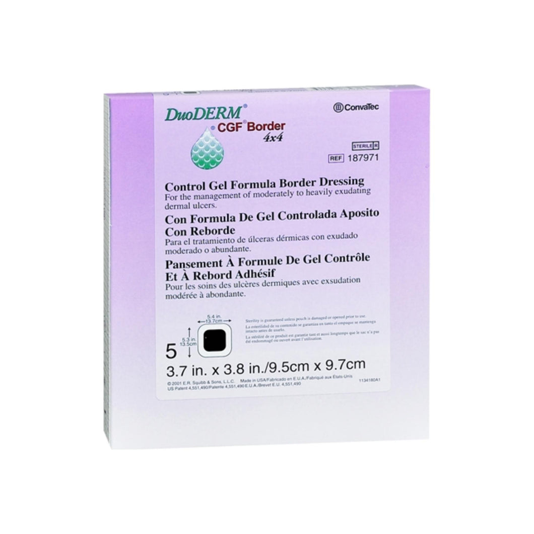 ConvaTec DuoDERM Control Gel Formula Border Dressings 4 Inches X 4 Inches 187971 5 Each