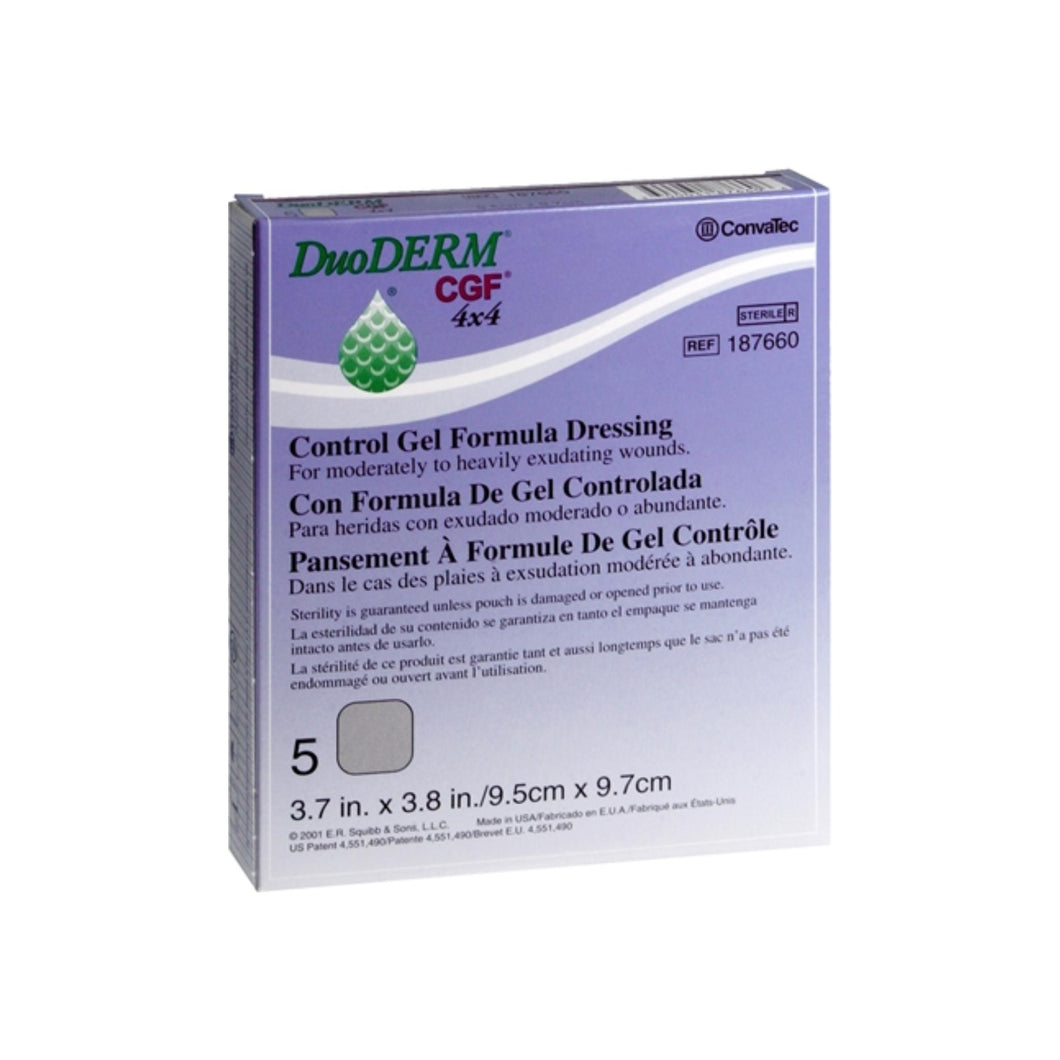 ConvaTec DuoDERM Control Gel Formula Dressings 4 X 4 Inches 187660 5 Each