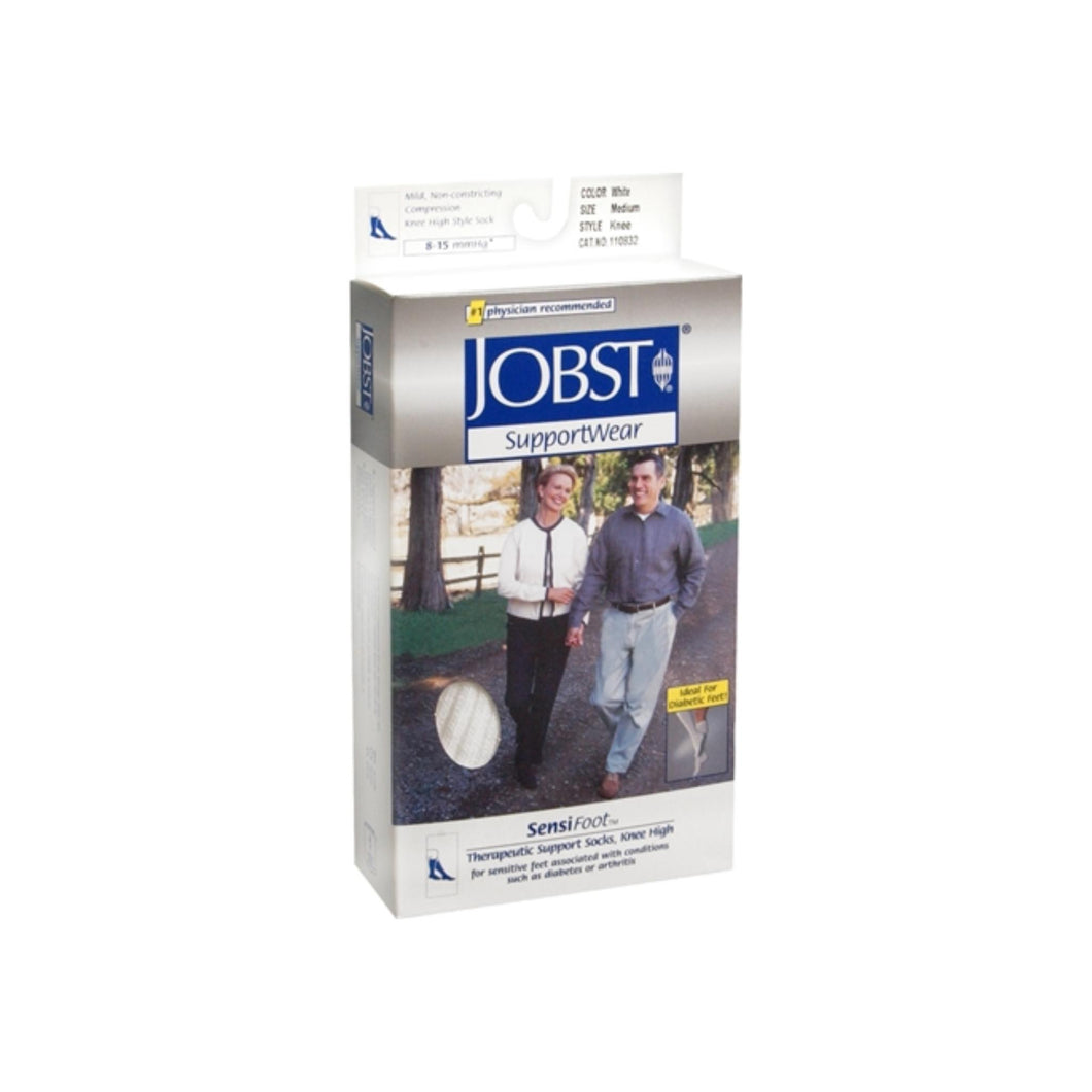 JOBST SupportWear SensiFoot Knee High Socks 8-15 mmHg White Medium 1 Pair
