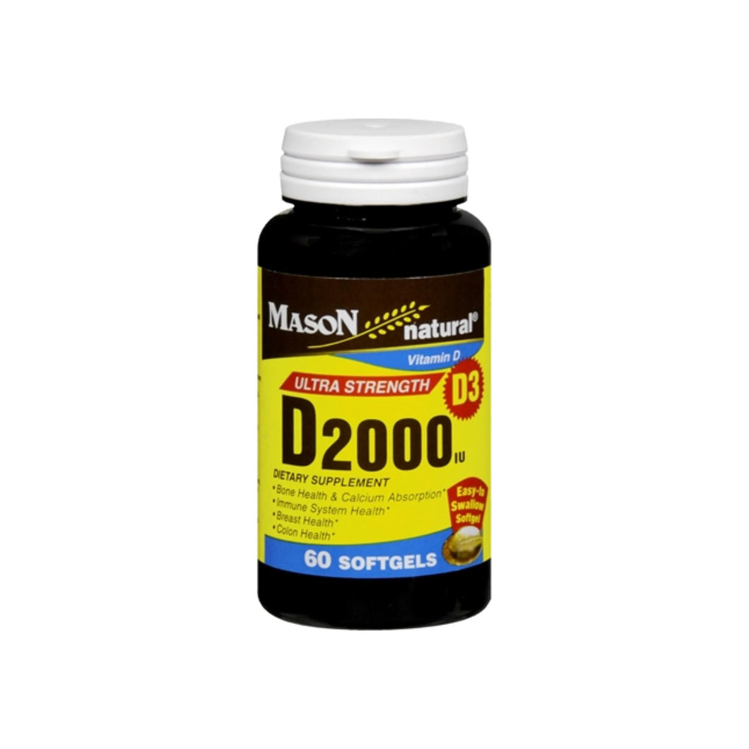 Mason Natural Vitamin D 2000 IU Softgels Ultra Strength 60 Soft Gels