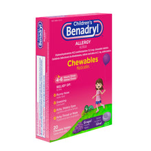 Load image into Gallery viewer, Benadryl Children's Allergy Chewable Tablets, Grape Flavored 20 ea