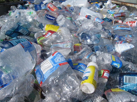 A pile of plastic water bottles