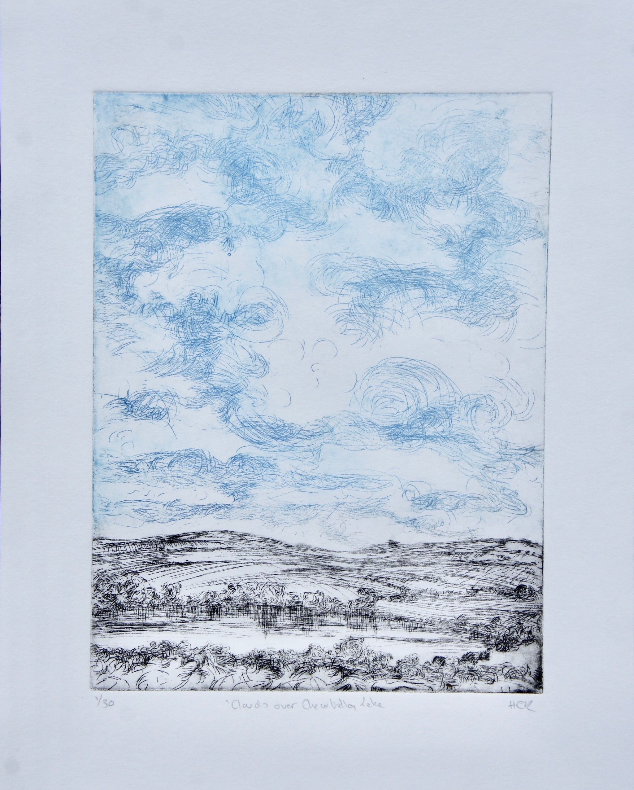 Clouds over Chew Valley Lake - Etching
