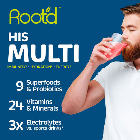 Root'd Powder Multivitamin with sugar free electrolytes and probiotics for men