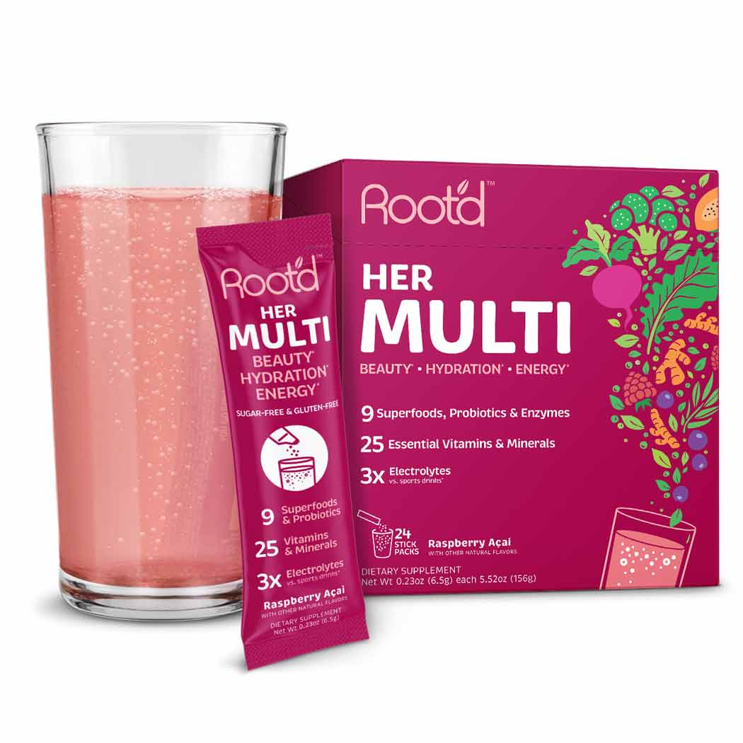 Root'd Powder Multivitamin for women with energy and iron and hydration sugar free