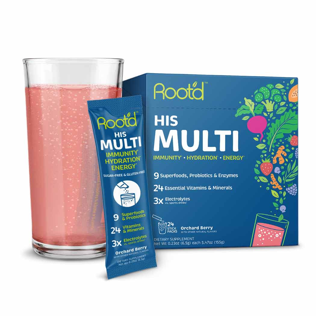 Root'd Powder Prenatal Vitamin with hydration support sugar free multivitamin