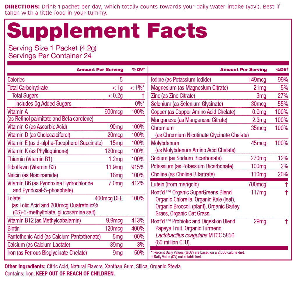 Root'd Women's Multivitamin Natural Supplemental Facts