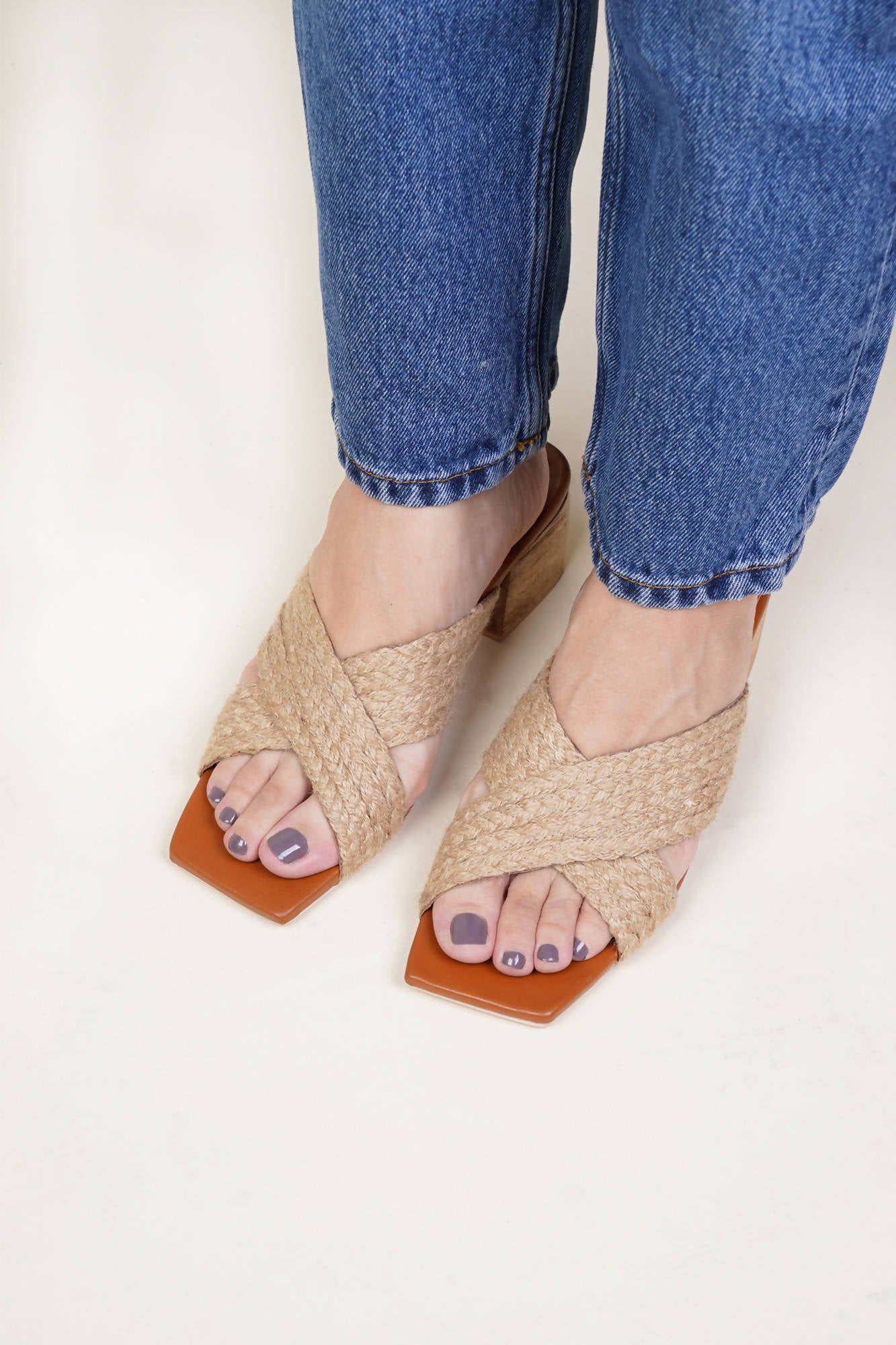 Clara Cross Strap Heel in Natural