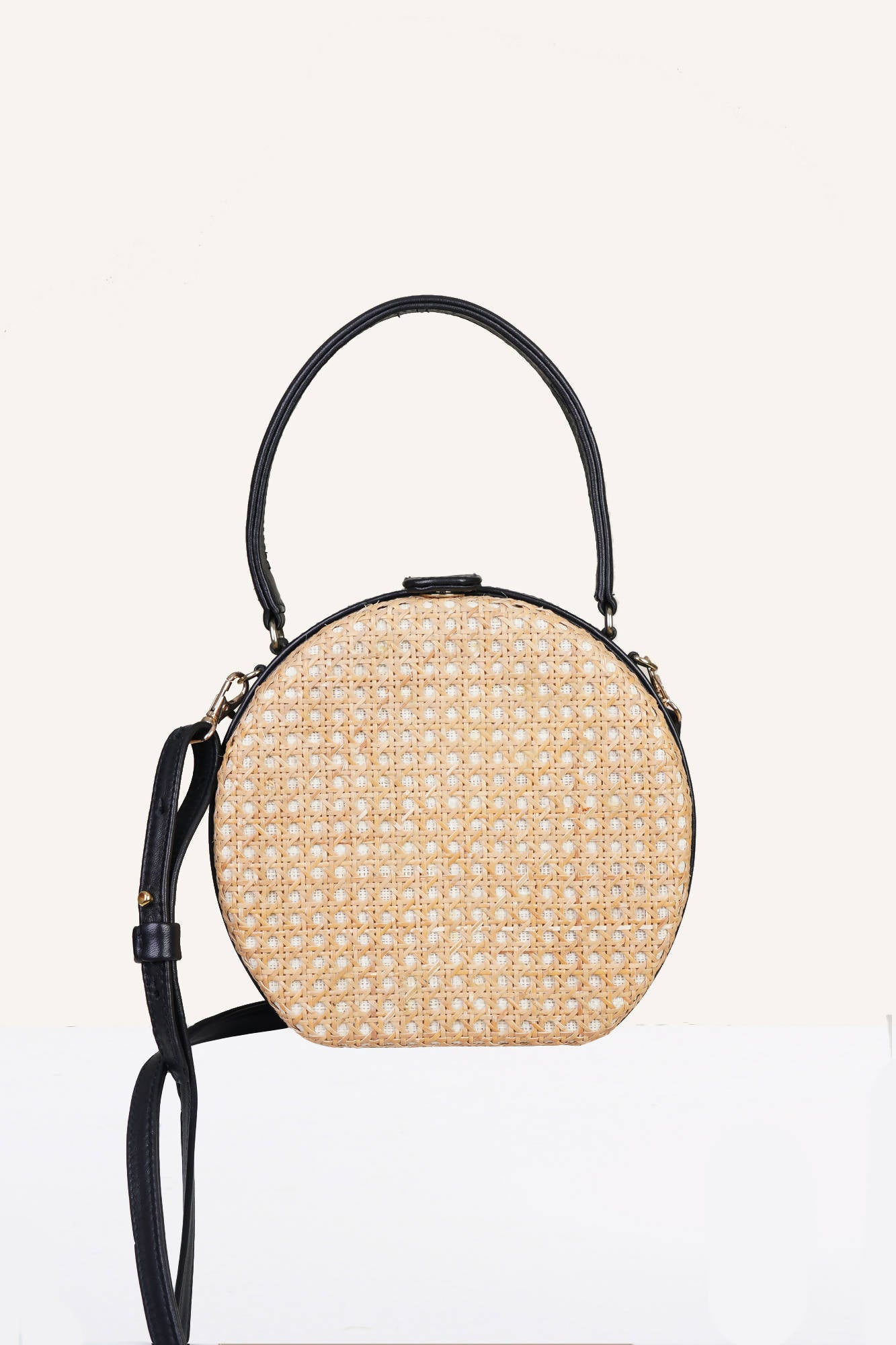 Teresita Mini Round Tote in Black/Natural