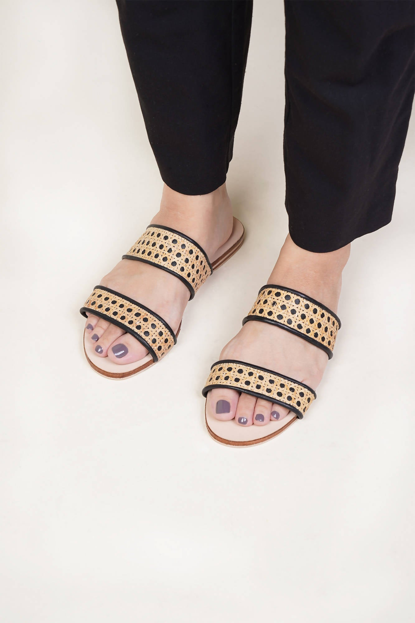Sinta Double Strap Slide in Black