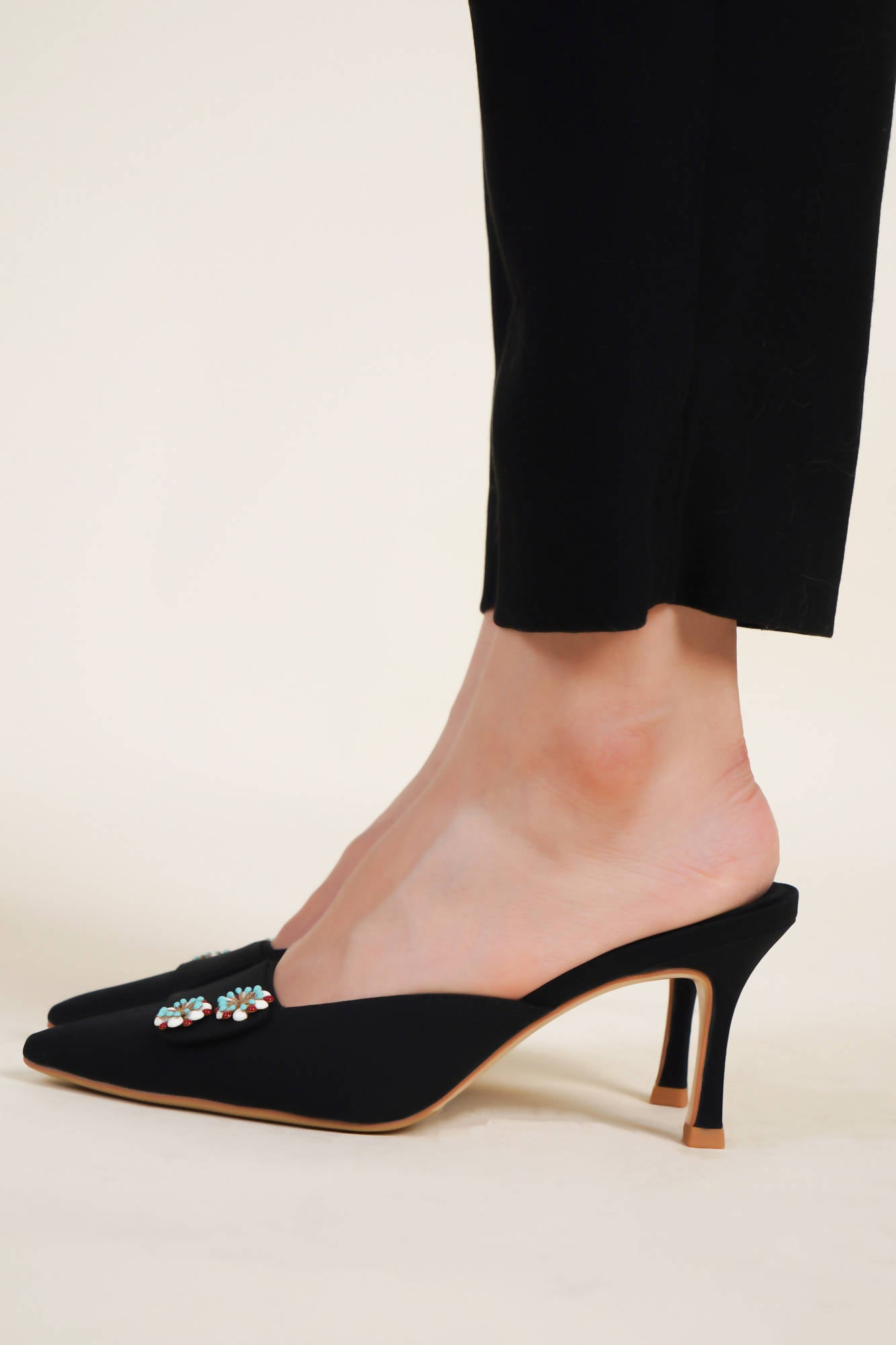 Button Mules in Black