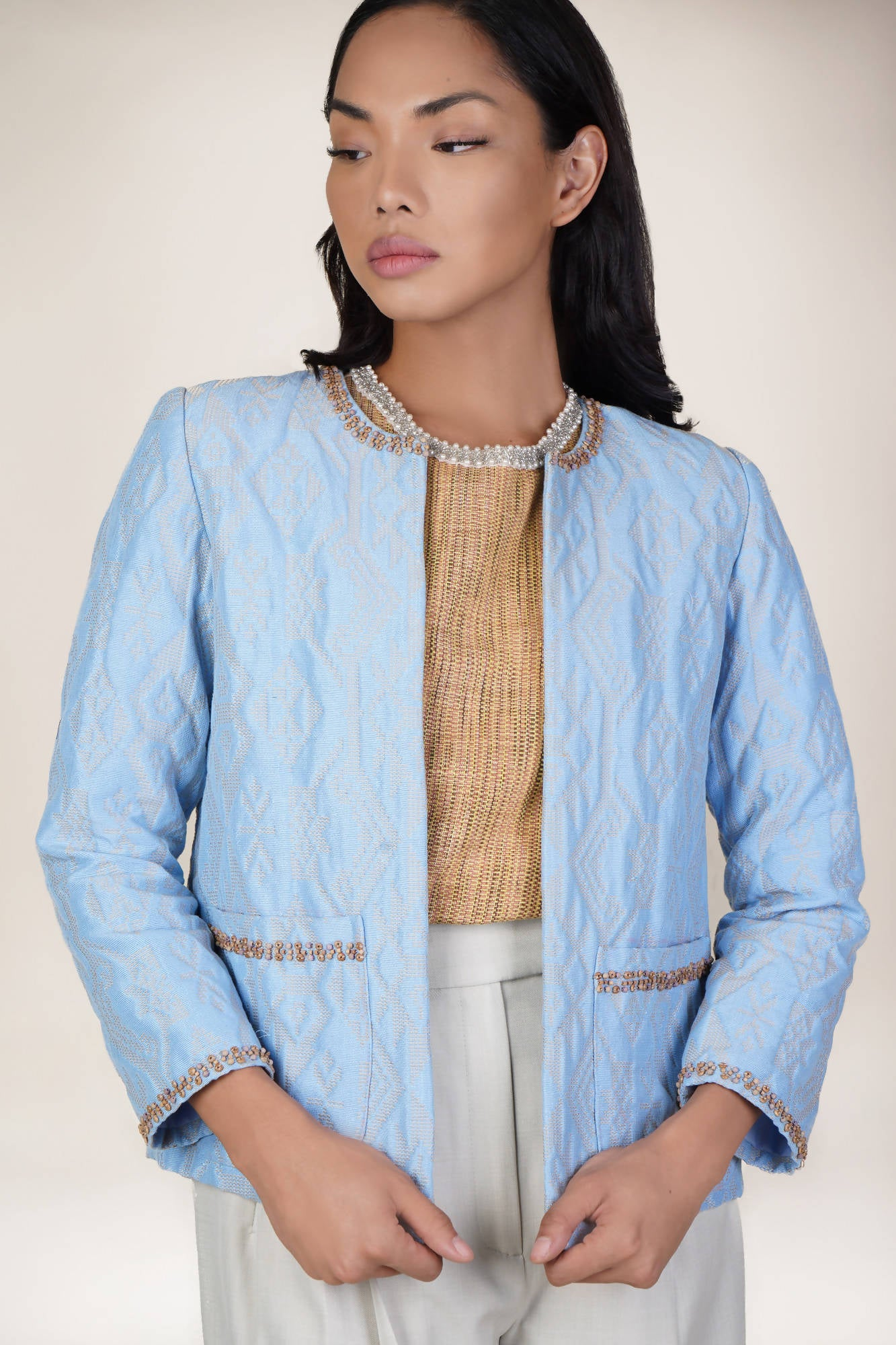 Maharlika Jacket in Light Blue/Beige