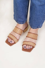 Liria Double Strap Heel in Tan