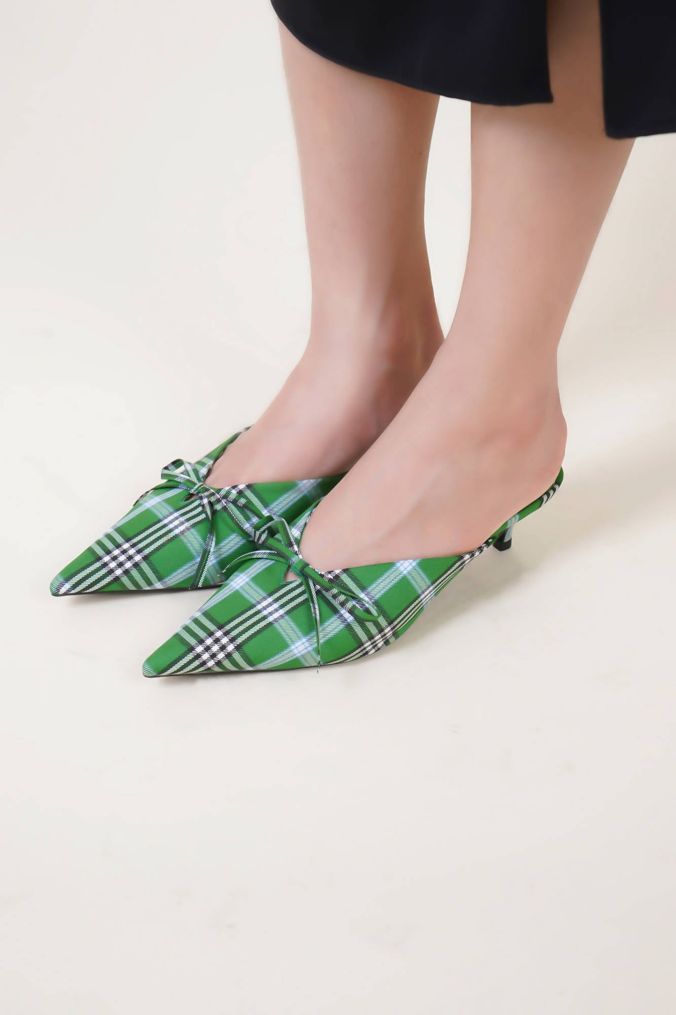 Checkered Mules in Green