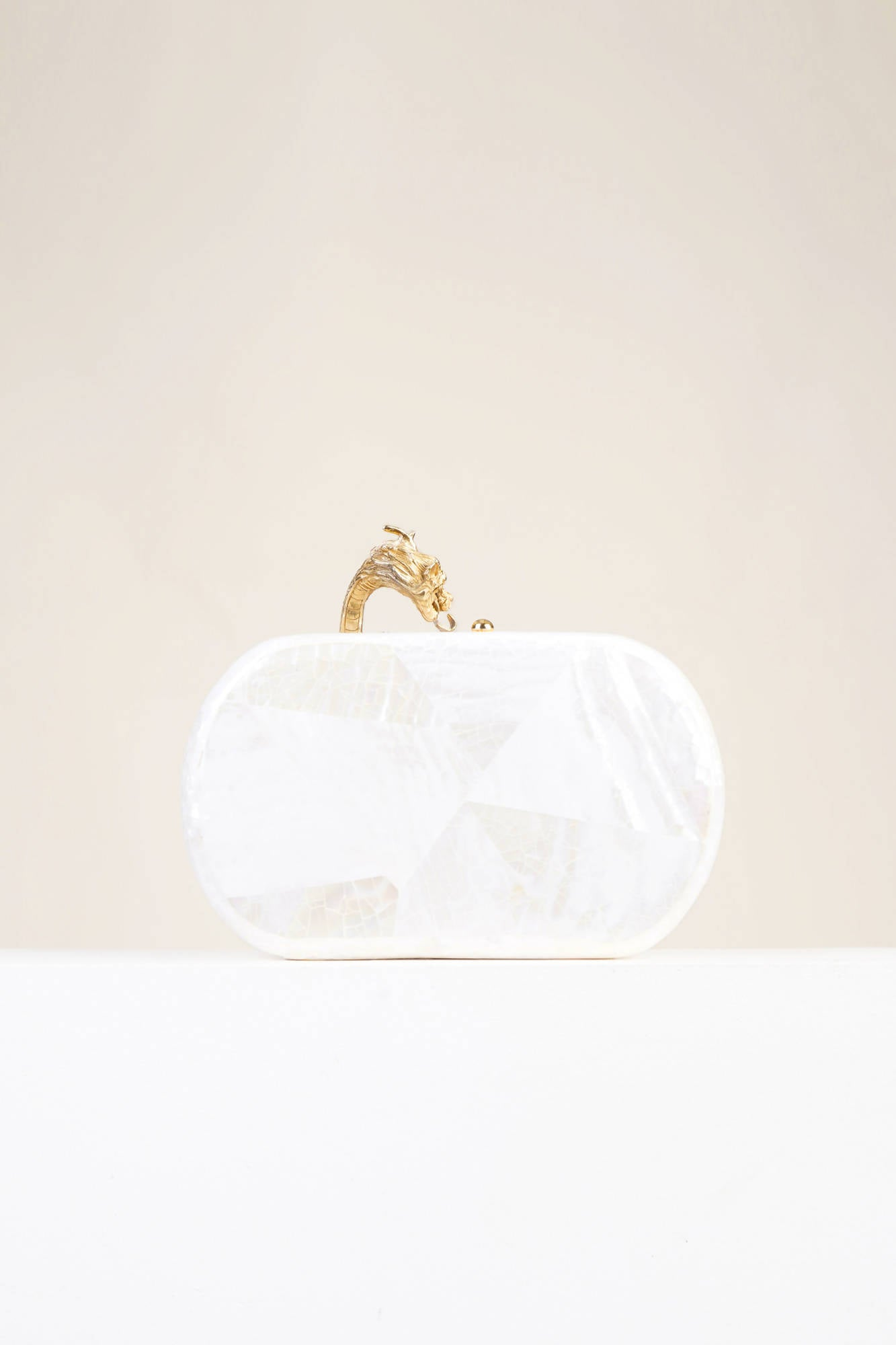 Suzy Wong in White Shell with Gold Hardware