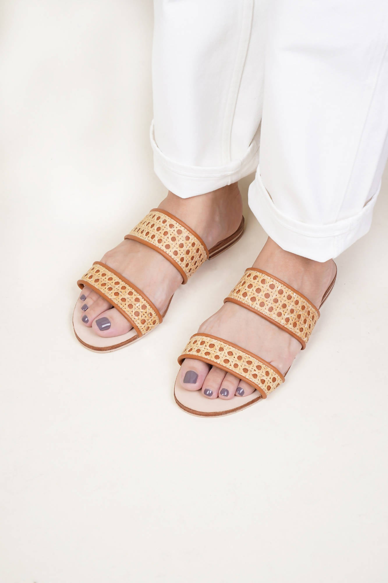 Sinta Double Strap Slide in Tan