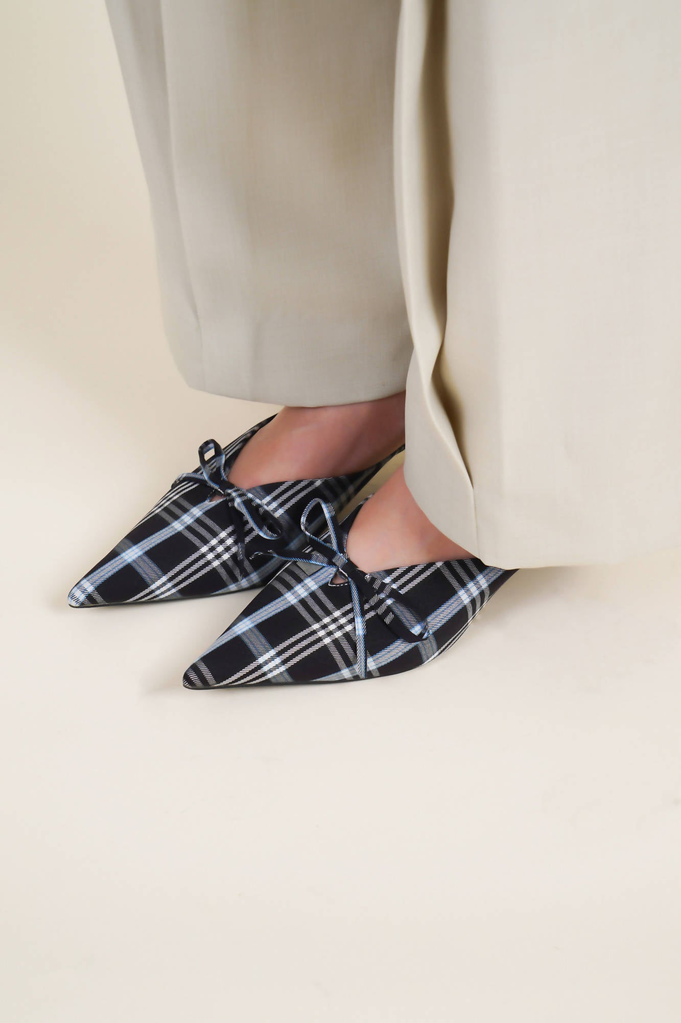 Checkered Mules in Black