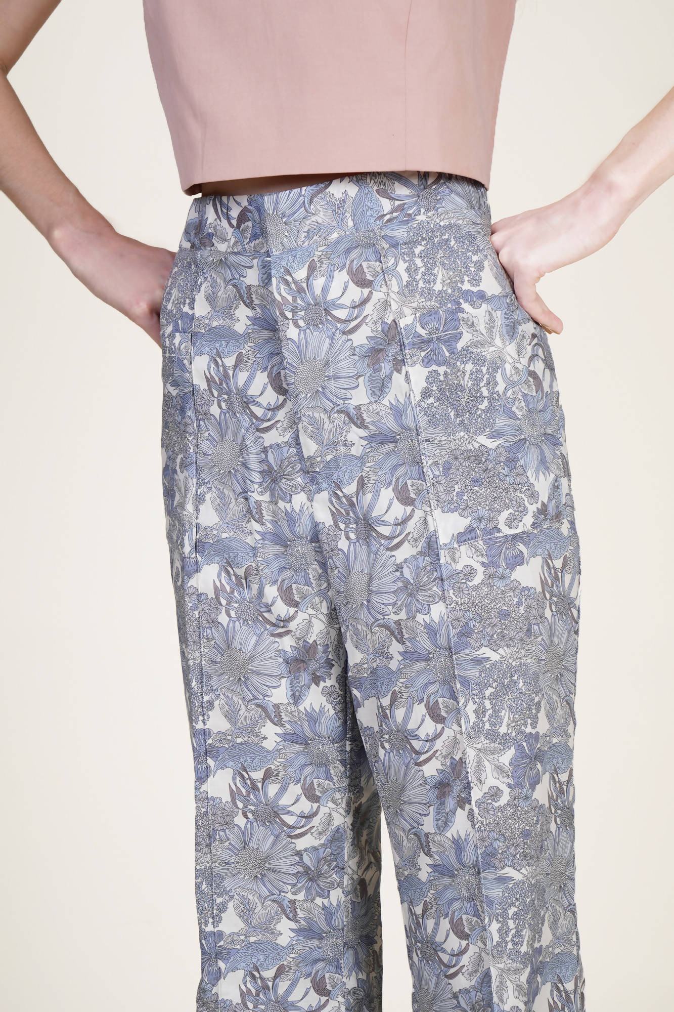 All in Flower Suit Pants in Pale Blue