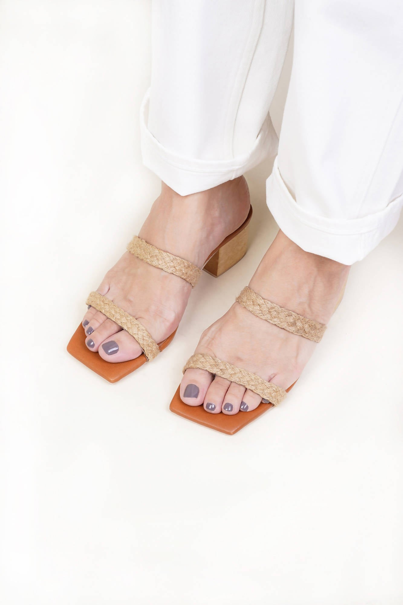 Tania Two-Strap Heel in Natural