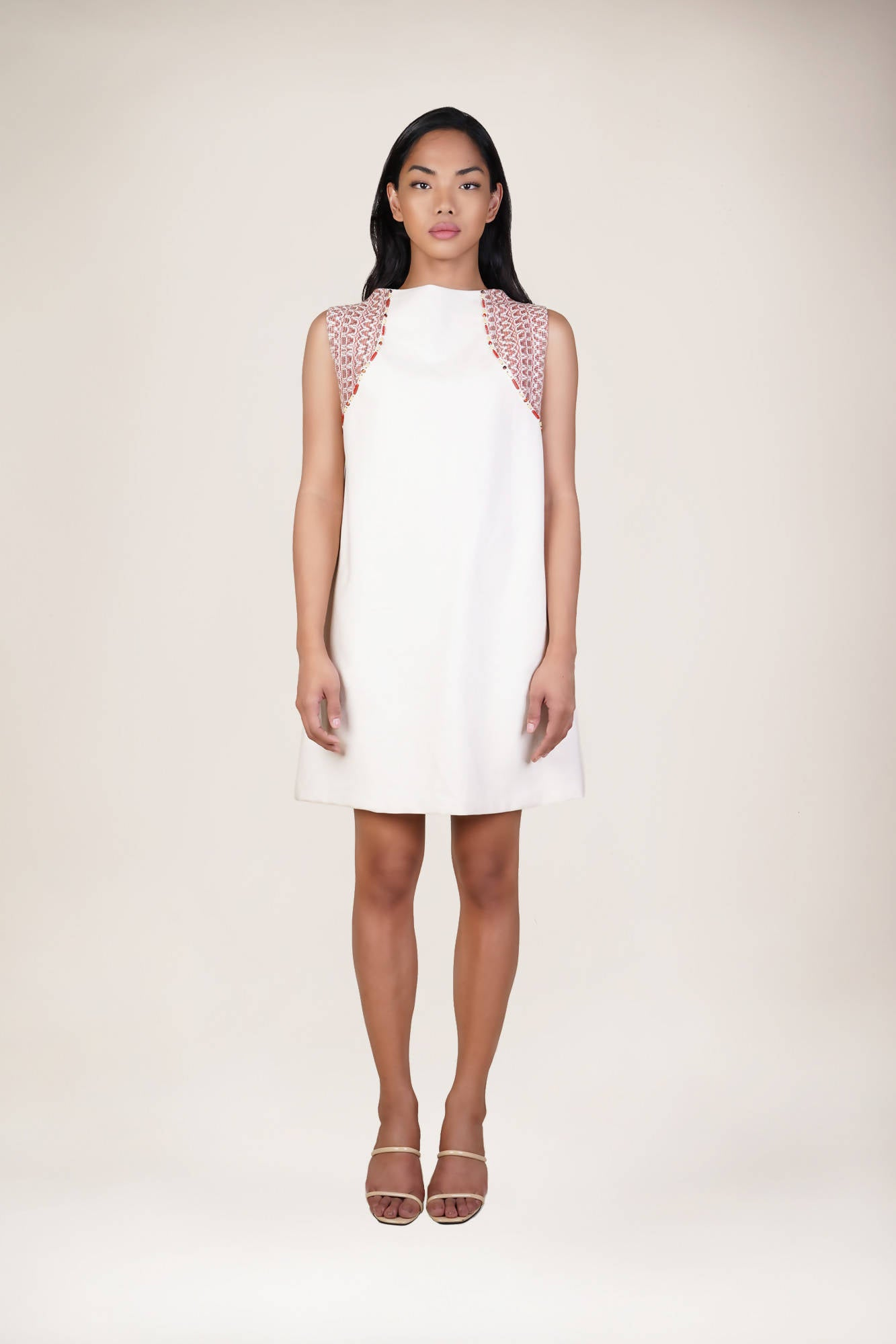 Diwata Sleeveless A-Line Dress in White/Rust