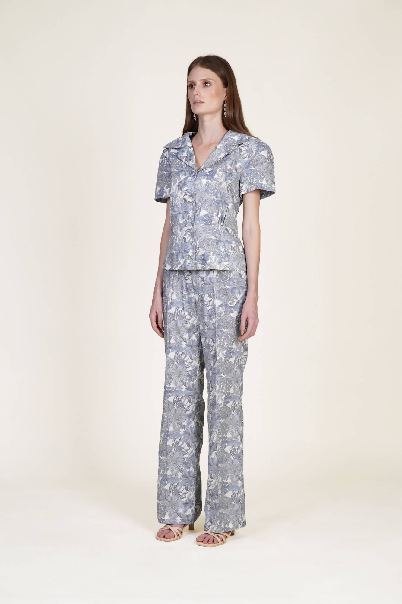 All in Flower Suit Blouse in Pale Blue
