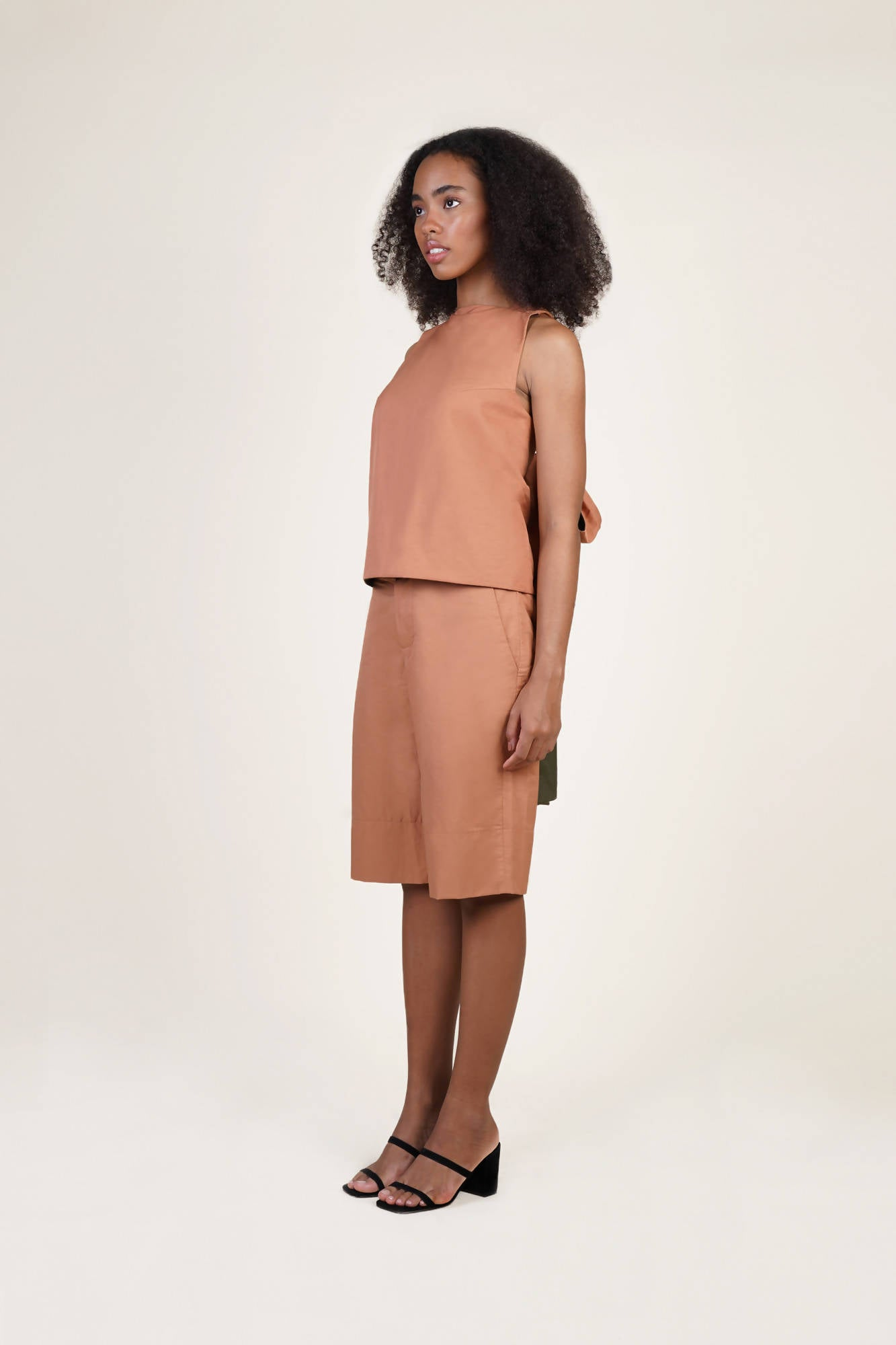 La Biche Reversible Top in Salmon/Olive