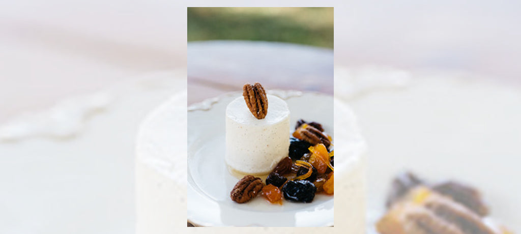 Vanilla Bean Crème Fraiche Mousse with Cinnamon Pecans and Dried Fruit Syrup