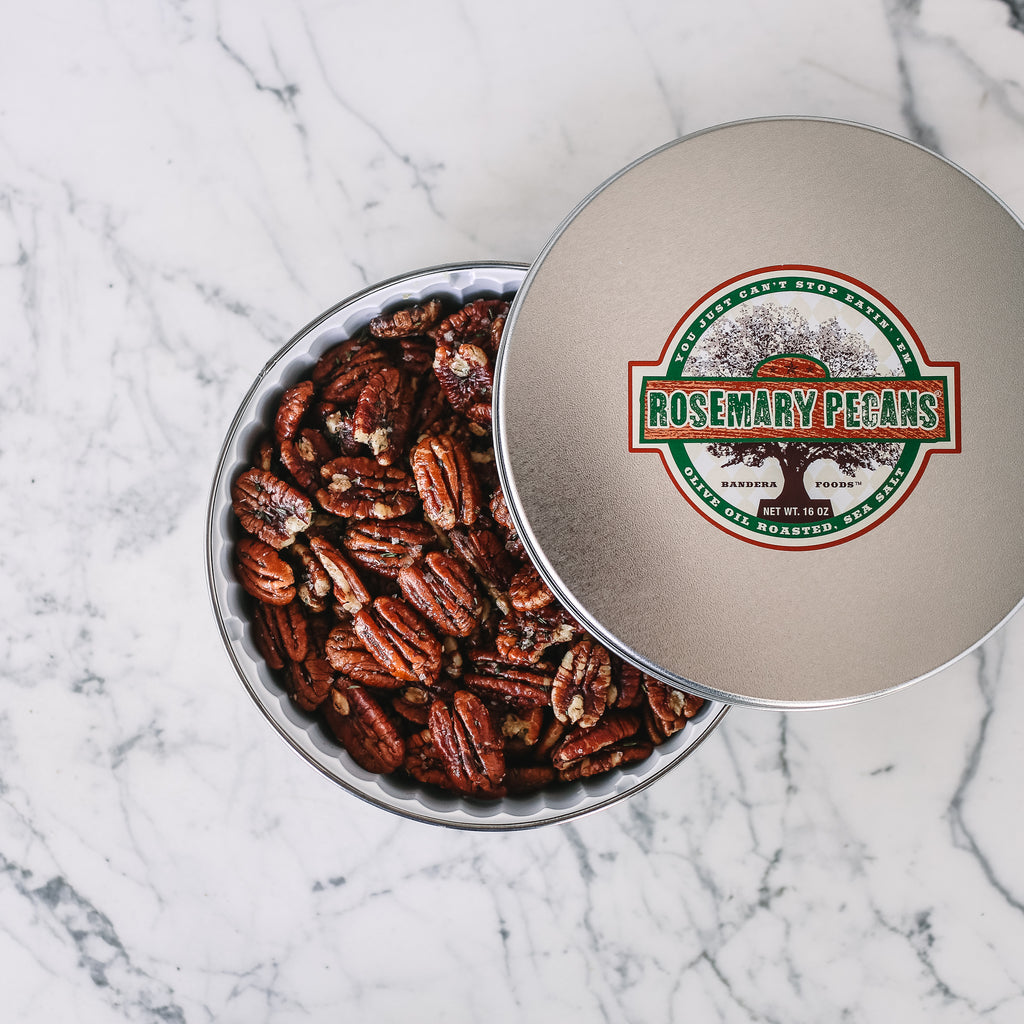 Olive Oil Roasted Rosemary Pecans 16 oz tin