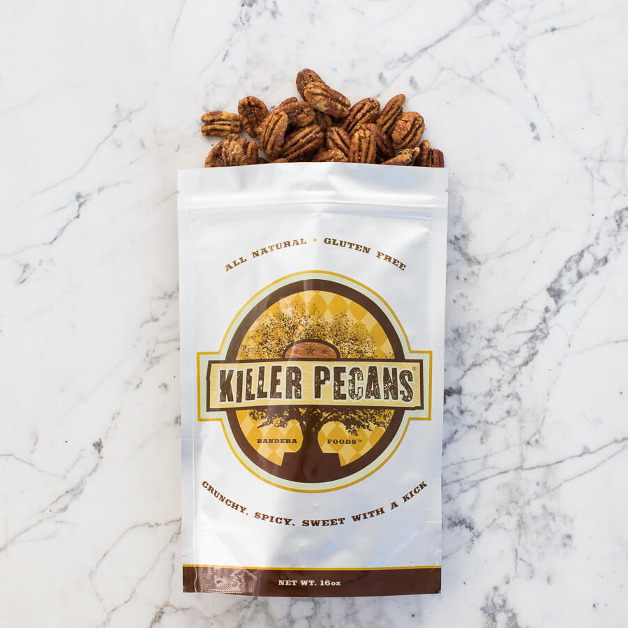 Killer Pecans 16oz bag Crunchy Spicy Sweet with a Kick. All Natural, Gluten-free.