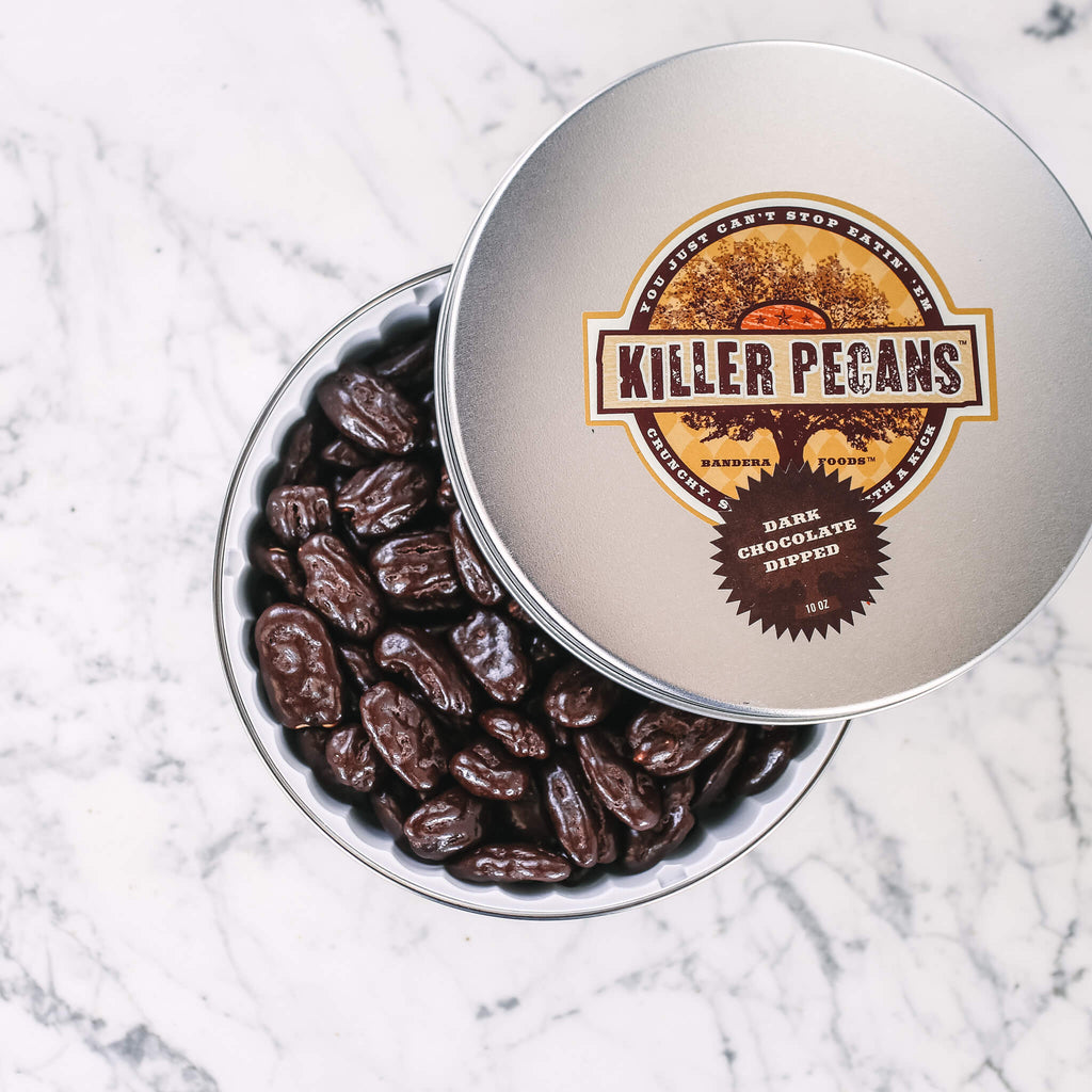 Dark Chocolate Dipped Killer Pecans 10 oz Tin