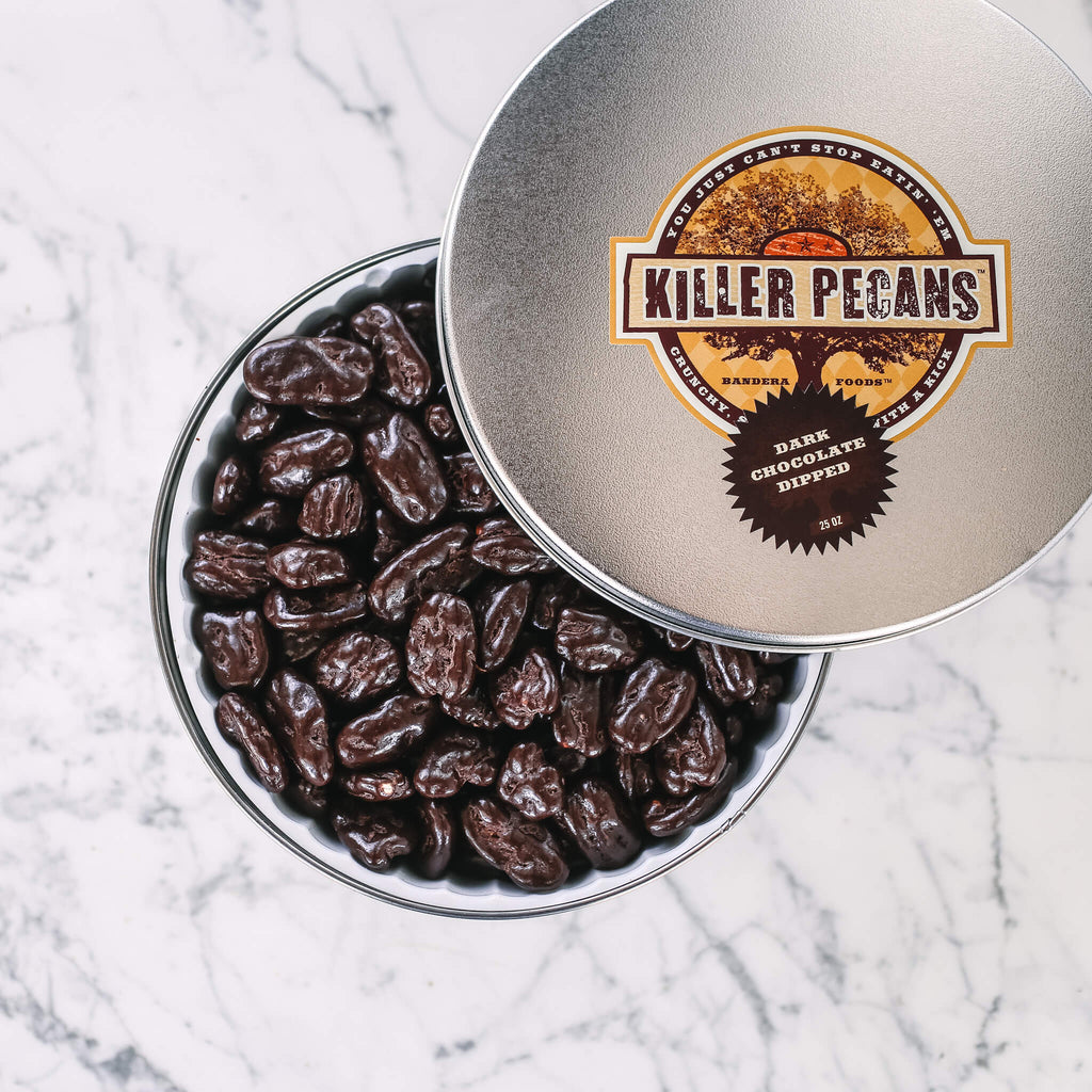 Dark Chocolate Dipped Killer Pecans 25 oz Tin