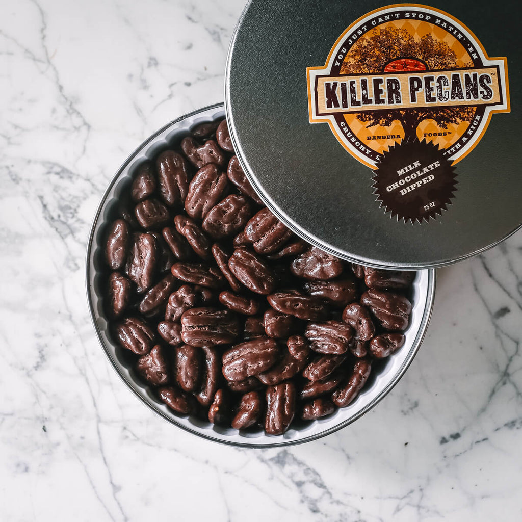 Milk Chocolate Dipped Killer Pecans 25 oz Tin
