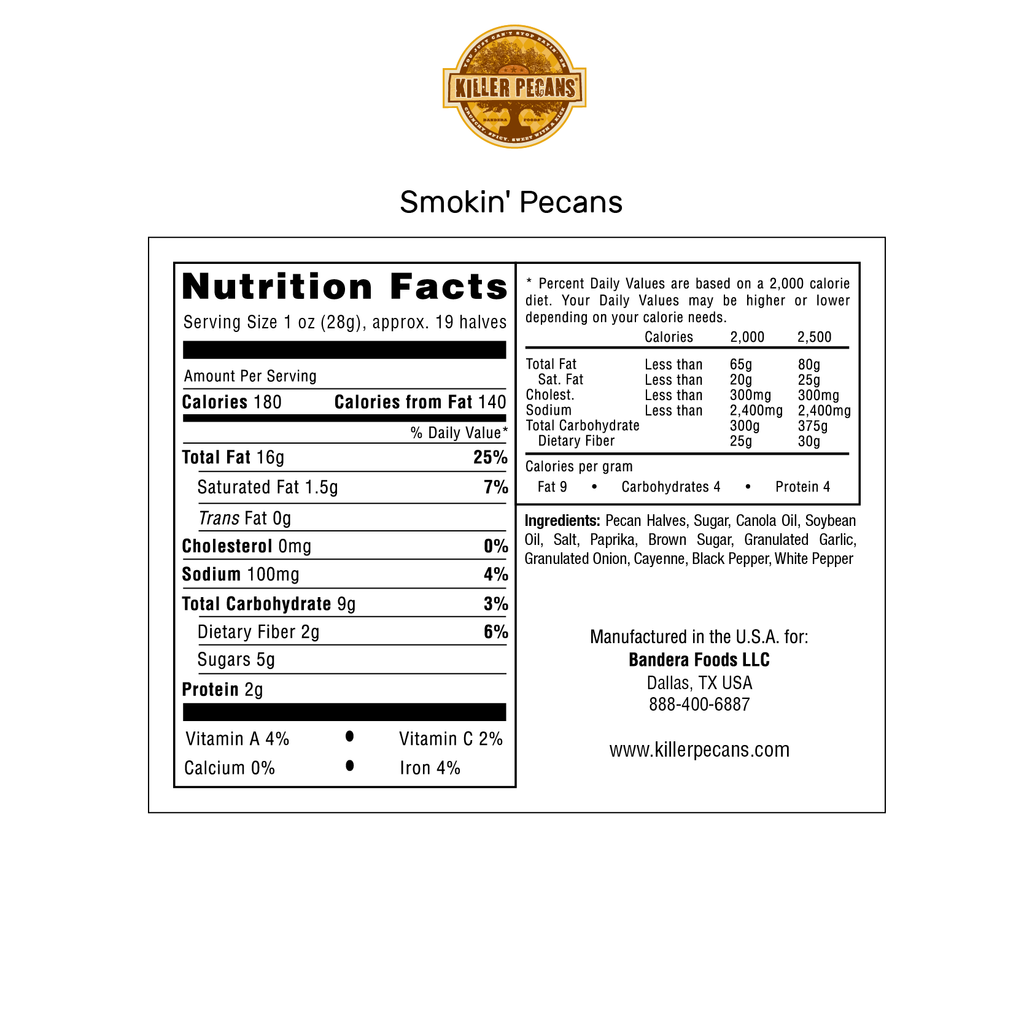 Smokin' Pecans 8oz bag Smokey, BBQ spice. All Natural, Gluten-free. Nutrition Panel