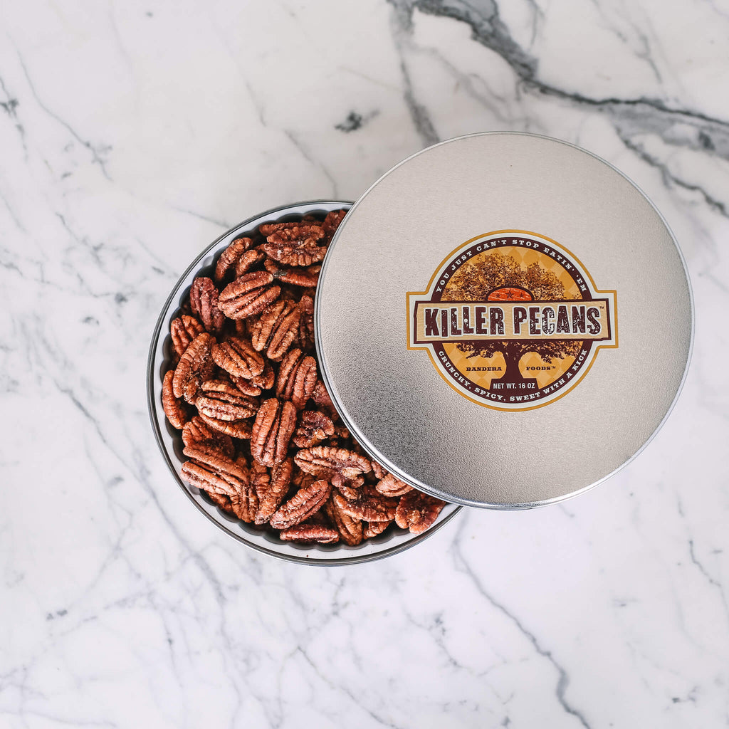 Killer Pecans 16oz tin Crunchy Spicy Sweet with a Kick. All Natural, Gluten-free