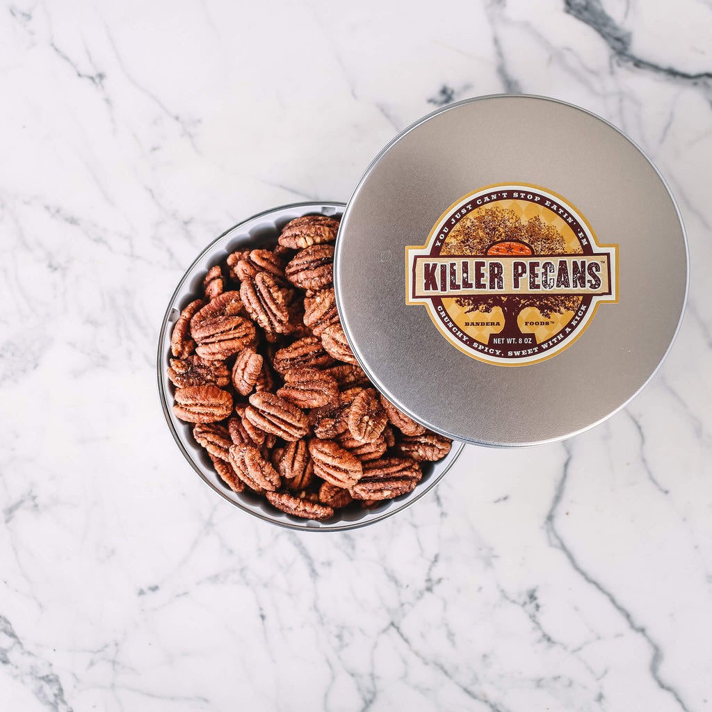 Killer Pecans 8oz tin Crunchy Spicy Sweet with a Kick. All Natural, Gluten-free