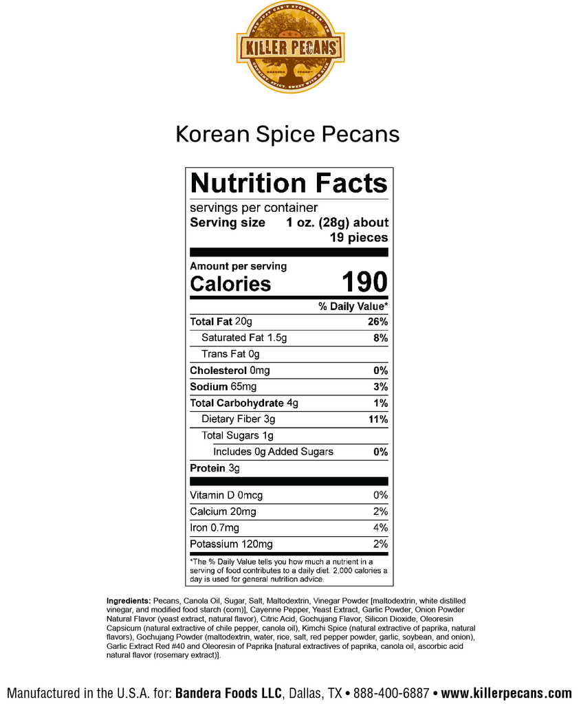 Korean Spice Pecans 12 oz bag