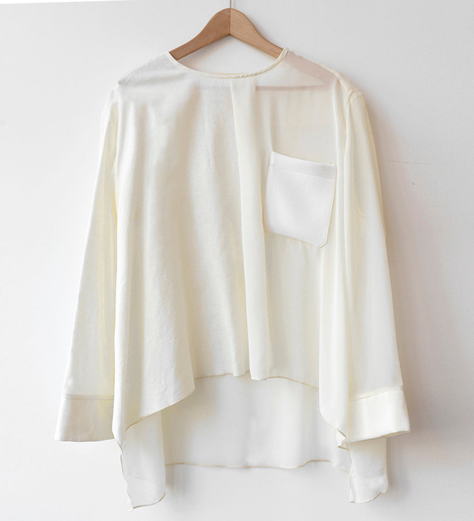 WIDE SQUARE POCKET TOP w/ BELT, White