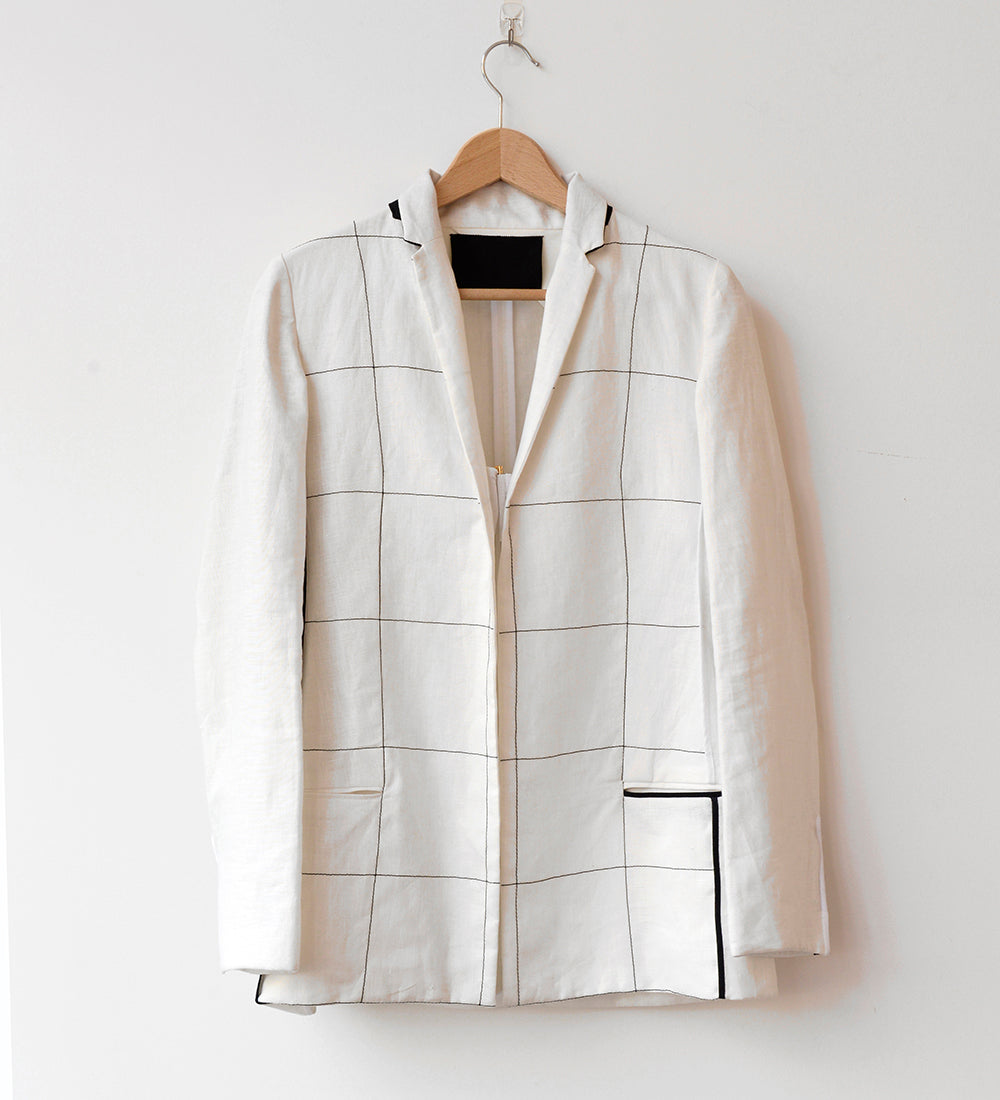 SQUARE TAILORED LINEN JACKET