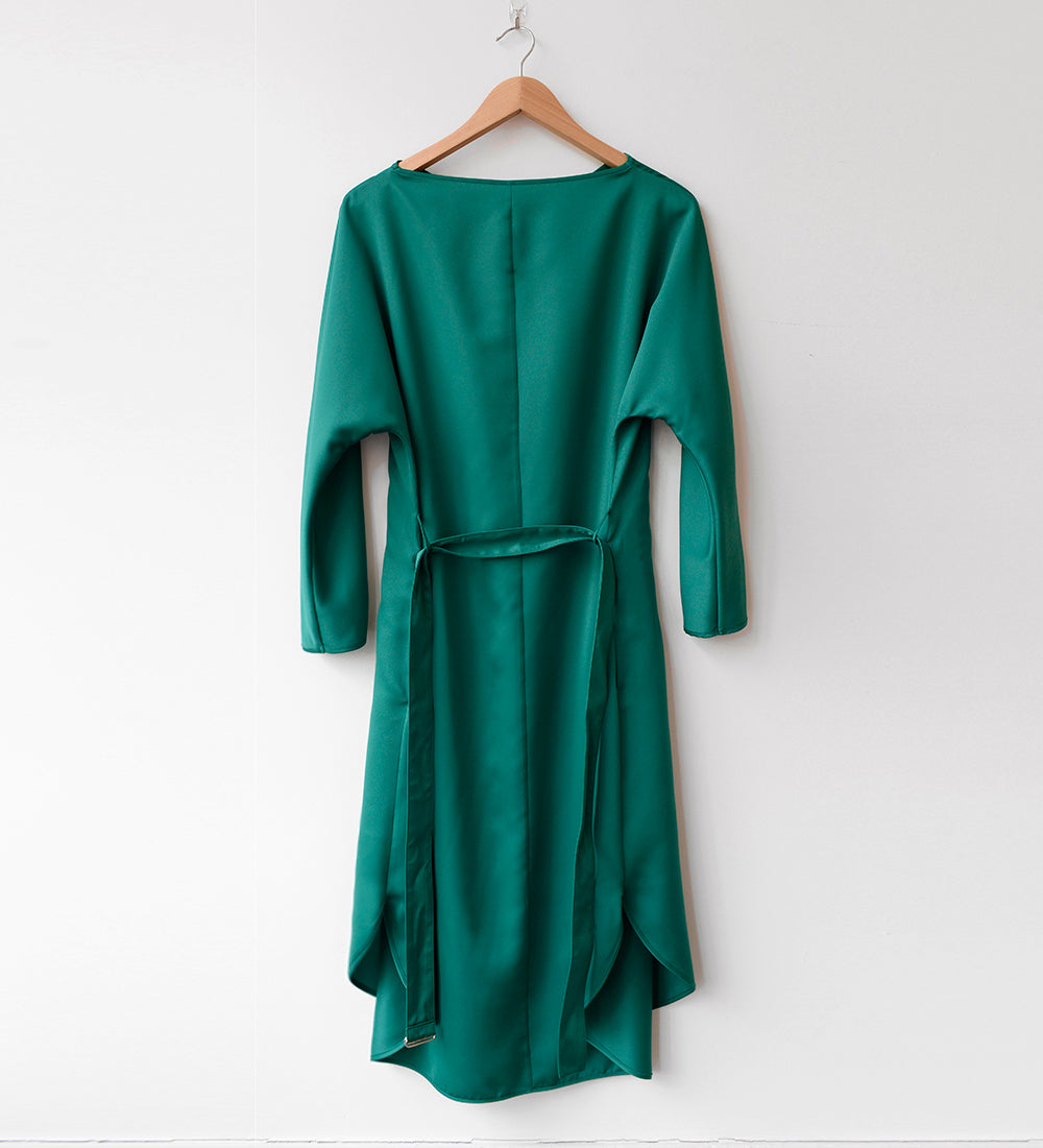 HEART NECK DRESS, FOREST GREEN (PRE-ORDER)