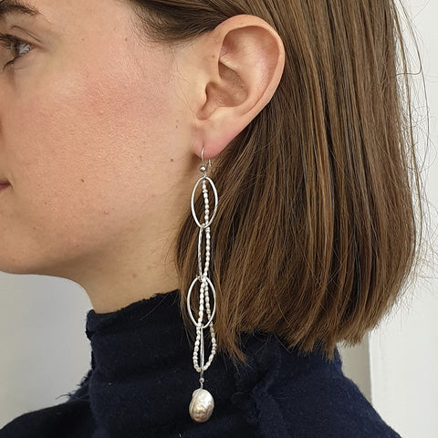 O&C pearl baroque moon drop earring
