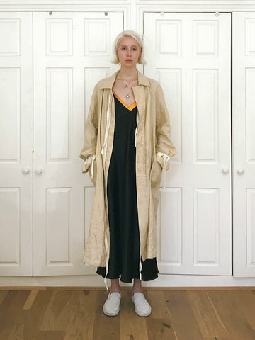 Cotton Tape Detailed Raglan Linen Coat