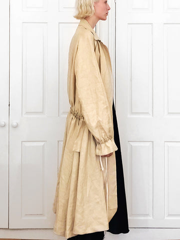 Raglan Linen Coat with Max Gathered Back