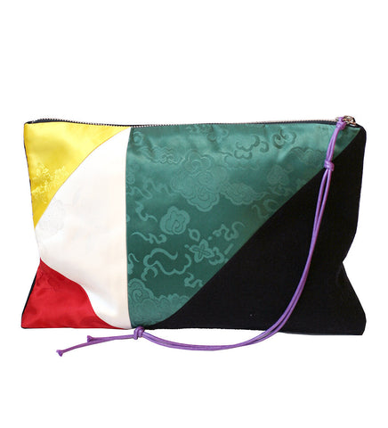 RANEE & COMPANY PATCHWORK BLACK & GREEN PURSE