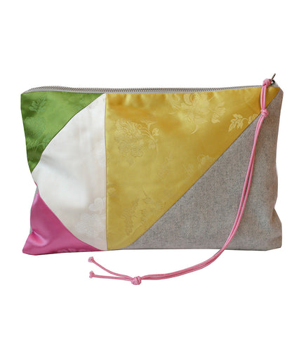 RANEE & COMPANY PATCHWORK GREY & YELLOW PURSE