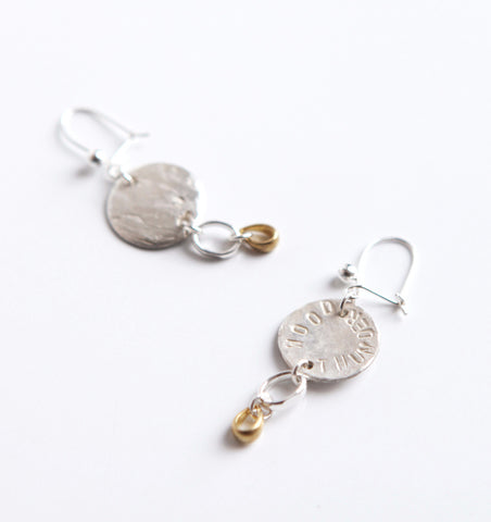 ORNAMENT & CRIME WOOD THUNDER SILVER DROP EARRINGS