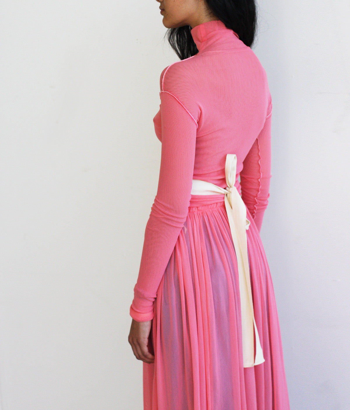 LOOK 6 (PINK ROSAS DRESS & BABYBLUE TAILORED WORKTROUSERS)
