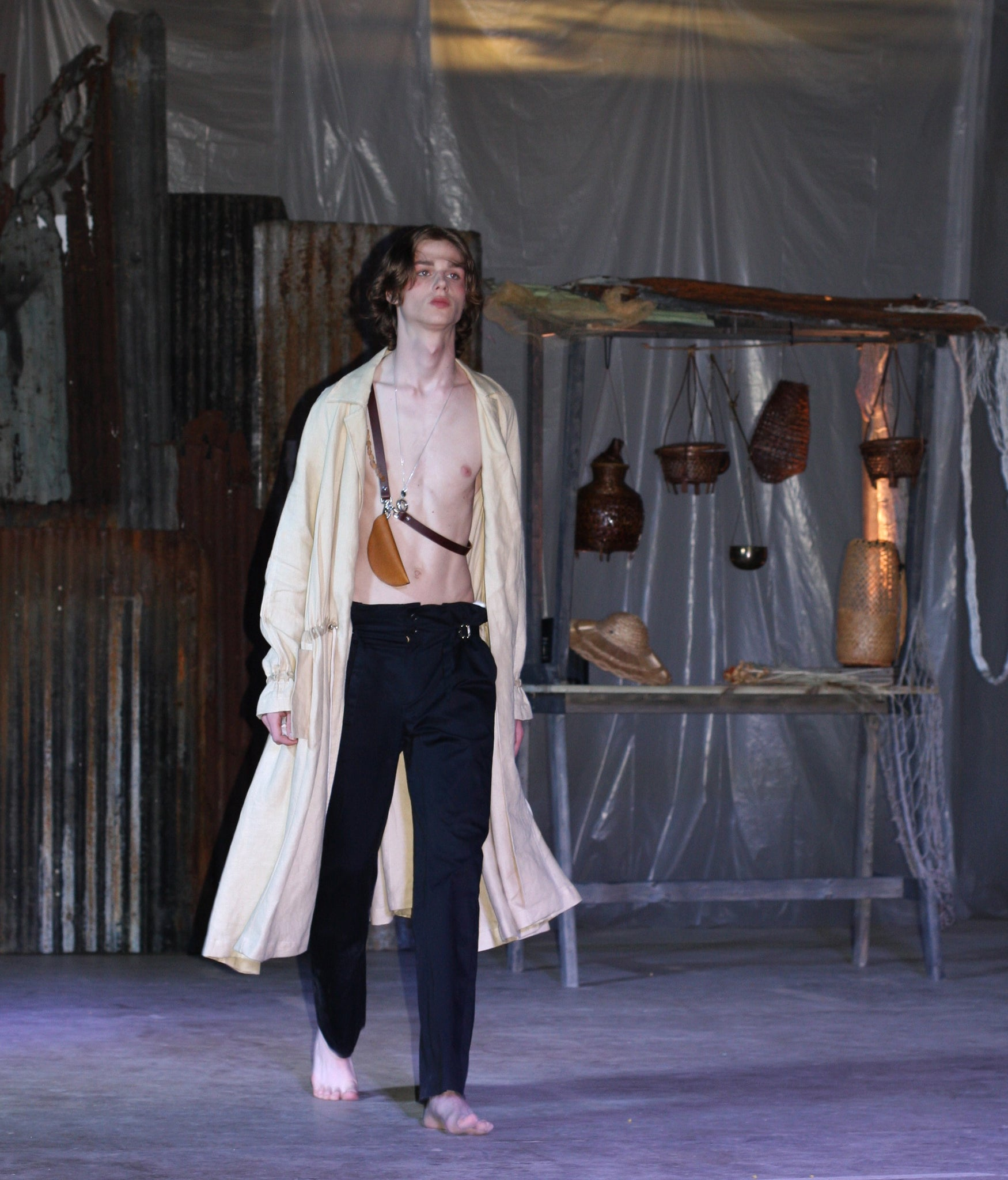 LOOK 2( Linen Trench Coat with Half moon bag & Slit trousers)
