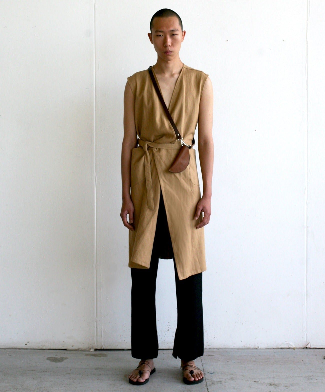 LOOK 11(LINEN FOS SHIRT WITH WRAP WORKDRESS+ SLIT TROUSERS)