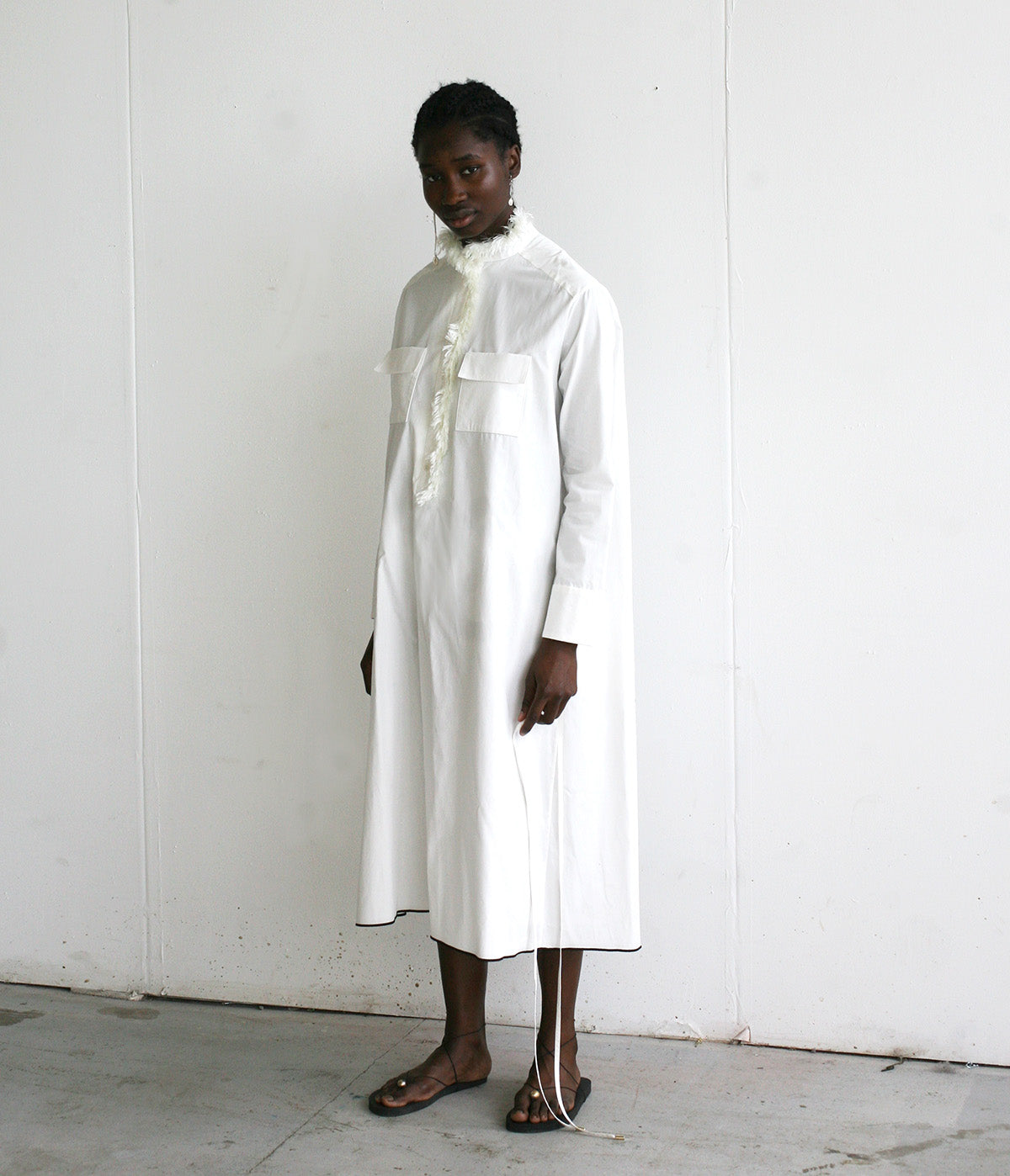 LOOK 5 (WHITE FRINGE SHIRT DRESS)